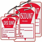 "DS4120WH 1 1/4"" X 1 7/8"" SALE TAG WHITE WITH RED INK ""Discount Priced, No., Reg.Price, Our Price"" Strung"