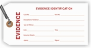 EVIDENCE IDENTIFICATION TAG - WHITE WITH RED PRINT