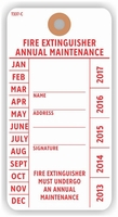 FIRE EXTINGUISHER ANNUAL MAINTENANCE TAG