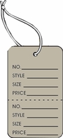 LG COUPON TAG, PRINTED, STRUNG, GREY