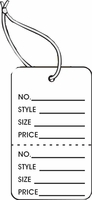 LG COUPON TAG, PRINTED, STRUNG, WHITE