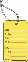 LG COUPON TAG, PRINTED, STRUNG, YELLOW