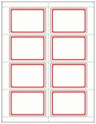 ML-7001 RED BORDER ON WHITE NAME BADGE LABEL 8 1/2 X 11 SHEET