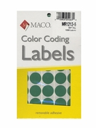 """(MR1212-5 green) 3/4"""" diameter - removable adhesive"""