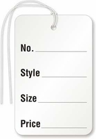 """No., STYLE, SIZE, PRICE"" - WHITE WITH STRING"