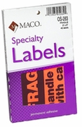 "OS283 LARGE FRAGILE LABEL  3"" X 5"" BLACK/ORANGE GLOW"
