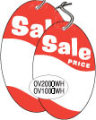 "OV2000WH 2 3/4"" X 4"" SALE TAG WHITE WITH RED INK ""Sale Price"" Strung"