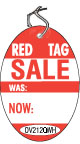 "OV2120WH 2 3/4"" X 4"" SALE TAG WHITE WITH RED INK ""RedTag, SALE, was, now"" Strung"