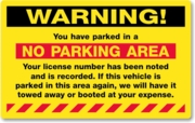 PARKING VIOLATION WITH PERMANENT ADHESIVE