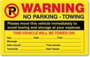 PK2052FY - NO PARKING WARNING - YELLOW FLUORESCENT - PERMANENT