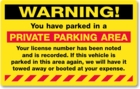 PK2054FY - WARNING PRIVATE PARKING AREA - FLUORESCENT YELLOW - PERMANENT