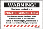 PK2054WH - WARNING PRIVATE PARKING AREA - REMOVABLE