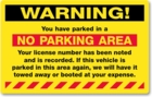PK2055FY - WARNING NO PARKING AREA - YELLOW FLUORESCENT - PERMANENT