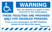 PK2060WH - WARNING HANDICAPPED - REMOVABLE
