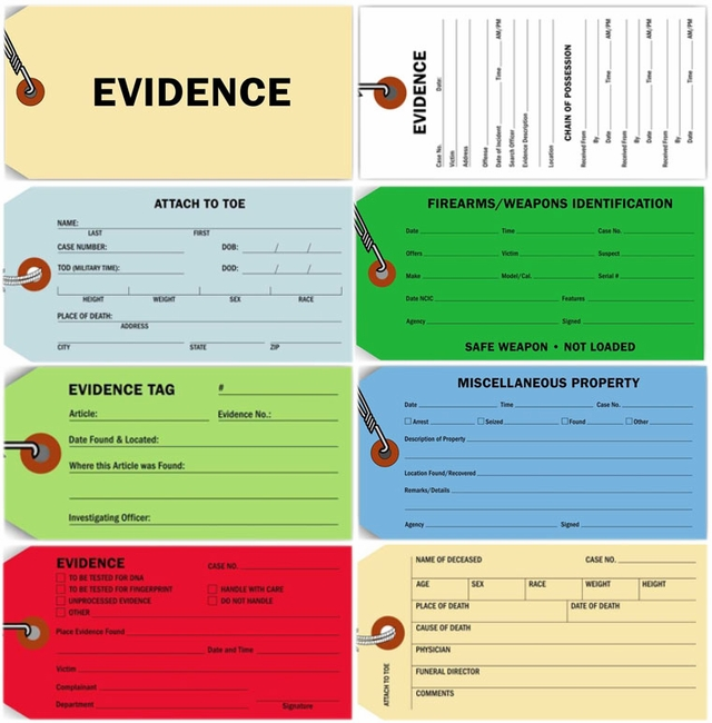 POLICE EVIDENCE AND MORGUE TAGS - 100 per pack