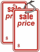 """SP0501WH 1 3/4"""" X 2 7/8"""" SALE TAG  WHITE WITH RED INK """"sale price"""" Hole, no string"""