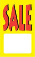 "SP0600WH 1 3/4"" X 2 7/8"" SALE TAG WHITE WITH YELLOW INK ""SALE"" Strung"