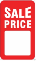 "SP1011WH 1 7/8"" X 3 9/16"" SALE TAG WHITE WITH RED INK ""Sale Price"" Hole, no string"