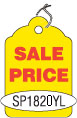 "SP1820YL 1 1/4"" X 1 7/8"" SALE TAG YELLOW WITH RED INK ""Sale Price"" Strung"
