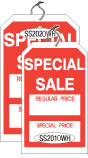 """SS2020WH 2 5/8 X 4 3/8 SALE TAG WHITE WITH RED INK """"SpclSale, RgPc, SpclPc"""" Strung"""