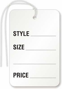 """STYLE, SIZE, ___, PRICE"" WHITE WITH STRING"