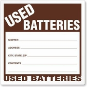 USED BATTERIES LABELS