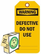 WARNING DEFECTIVE DO NOT USE (FL ORANGE)