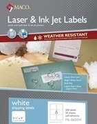 White Weather-Resistant Labels for use in Laser AND Inkjet Printers