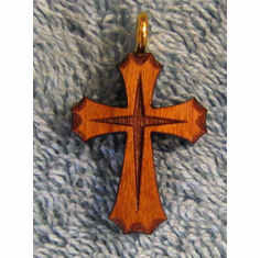 Cherry Wood Ornate Pendent-33A
