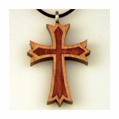 Crusader Cross Inlay Pendant - 61B