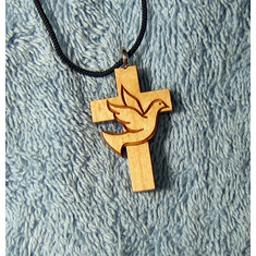 Dove & Cross Wood Pendent-53A