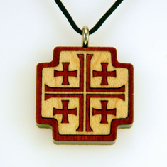 Five Cross Pendent-Bloodwood & Maple-49E