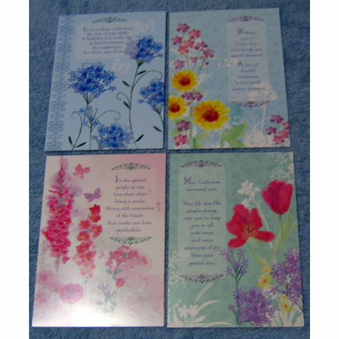 floral impressions 12 birthday greeting cards - Discount Greeting Cards