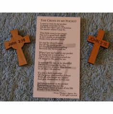 John 3:16 Wood Pocket Crosses-Pack Of 5