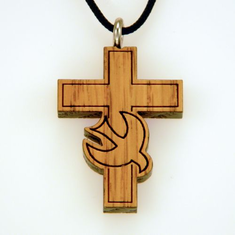 Oak Cross with Dove Pendants-32B