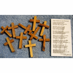 Olive Wood Pocket Cross-Pack Of 10