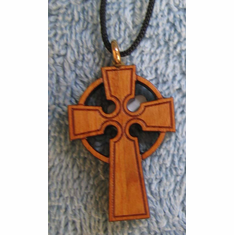 Satin Varnished Cherry Ornate-Wood Cross-45K
