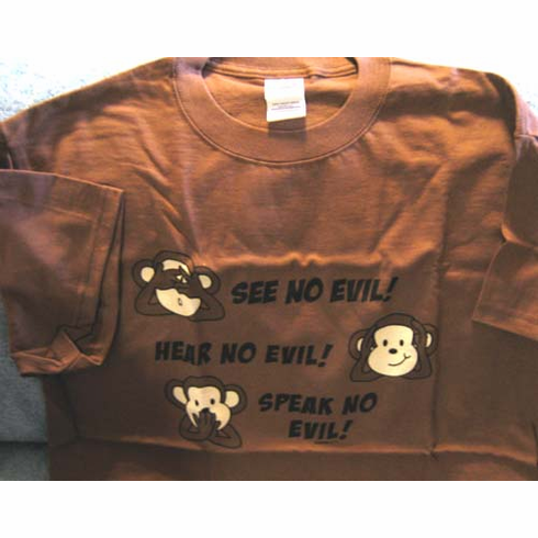 See No Evil! T-Shirts Christian Tees-Large