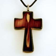 Varnished & Burnt Wood Cross-9H