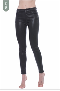 Coated Black Wash Skinny Jeans (Black) by Seven for all Mankind