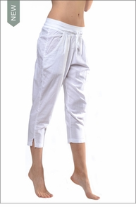 Cropped Pleated Front Pocket Pant (VG-179, White) by Hard Tail Forever