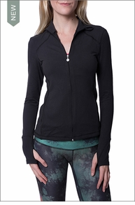 Fitted Mock Neck Jacket (Style SP2060, Black) by Beyond Yoga