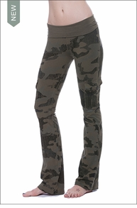 Hardtail Roll Down Cargo Boot Leg Pants (W-467, Olive Camo)