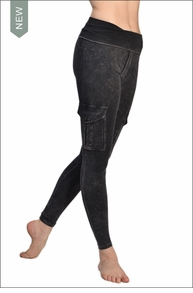 Hardtail Roll Down Mineral Wash Cargo Ankle Leggings (Dark Charcoal)