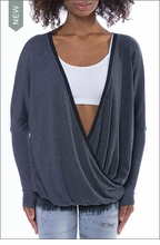 Long Sleeve Faux Wrap Sweater (Style VORT-12, Dark Charcoal) by Hardtail