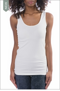 Sexy Seamless Reversible Scoop/V-neck Layering Tank (Off White) by M. Rena
