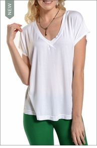 Slouchy V-Neck Tee (White) by Hard Tail Forever