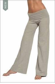 Wide Leg Roll Down Pants (Heather Gray)
