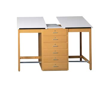 DIVERSIFIED WOODCRAFTS 2 Station Art/Drafting Table - 6 drawers