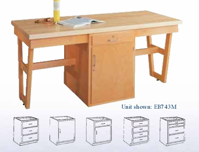 """A-Frame and Three Drawer Cabinet 60""""x30""""-Maple"""
